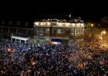 Franklin Street in Chapel Hill erupts as thousands of Tar Heel fans celebrate UNC's 89-72 victory over Michigan State in the 2009 NCAA men's basketball championship